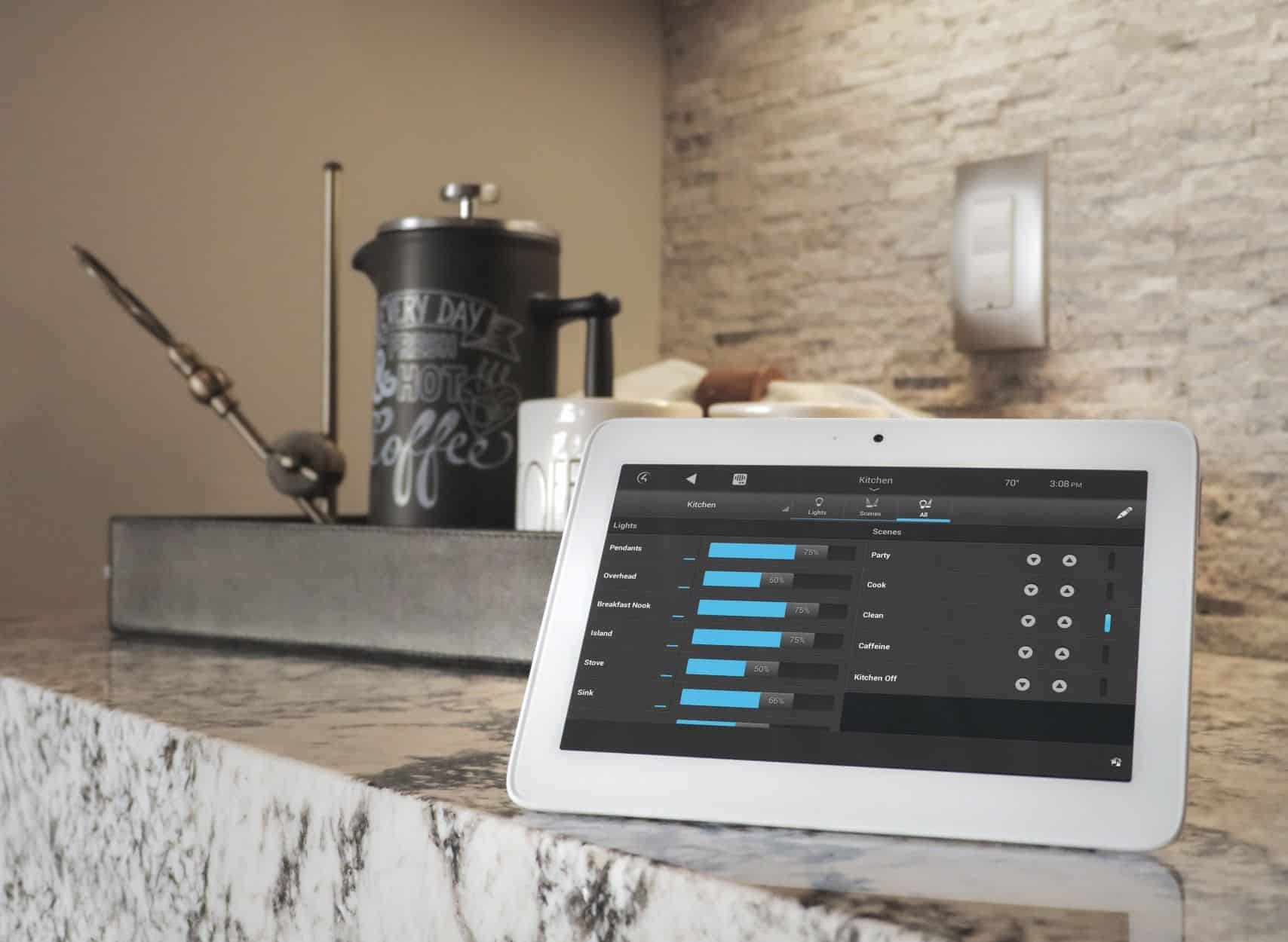 Control4 Touchscreen featuring lighting control throughout a Control4 Smart Home